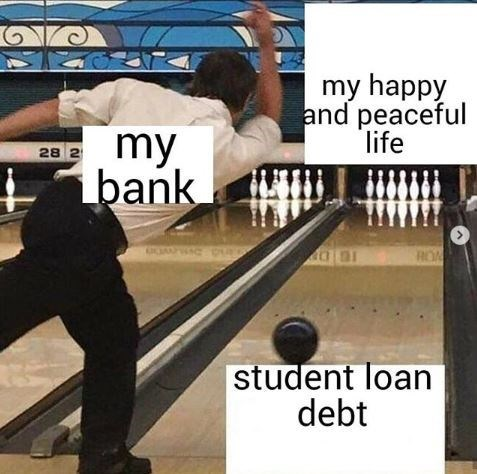 Bowling - my happy and peaceful life my bank 28 2 RON student loan debt