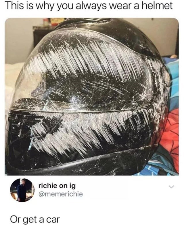 Hair - This is why you always wear a helmet richie on ig @memerichie Or get a car