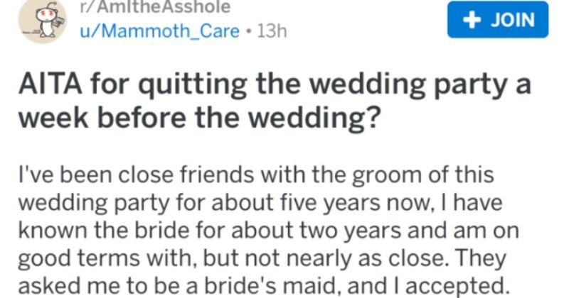 Bridesmaid drops out of wedding party after bride throws lingerie pyramid scheme.