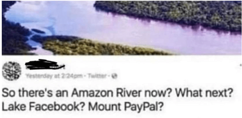 Text - Yestenday at 2-24pm-Twitter- So there's an Amazon River now? What next? Lake Facebook? Mount PayPal?