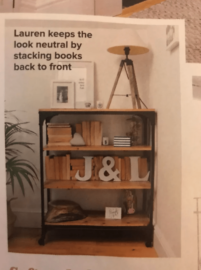 Shelf - Lauren keeps the look neutral by stacking books back to front J&L
