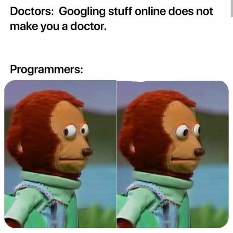 Animated cartoon - Doctors: Googling stuff online does not make you a doctor. Programmers: