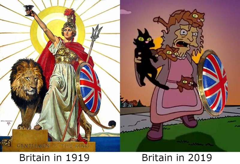 Cartoon - AEx WOODS Mw.w GENTLEMEN THE KING Britain in 1919 Britain in 2019