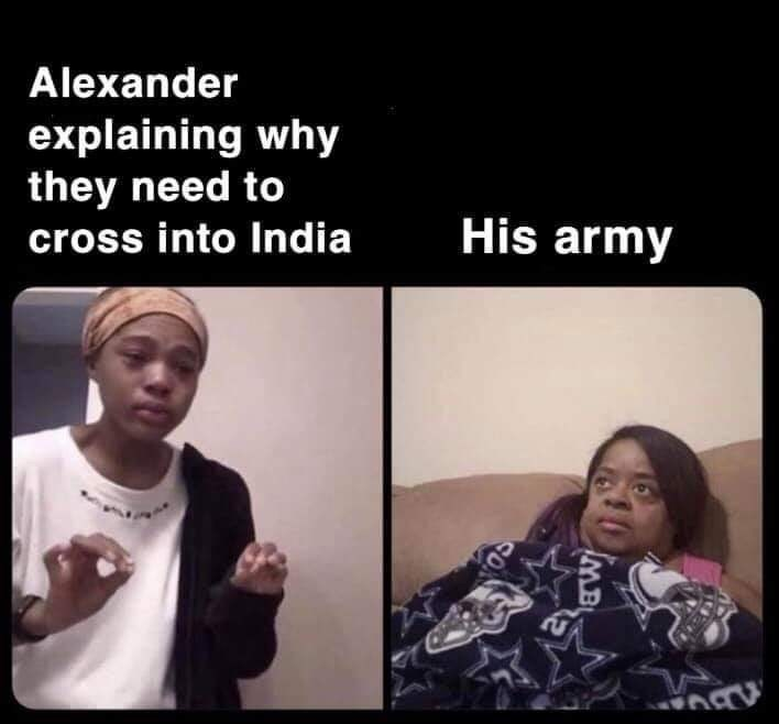 Face - Alexander explaining why they need to His army cross into India fMB