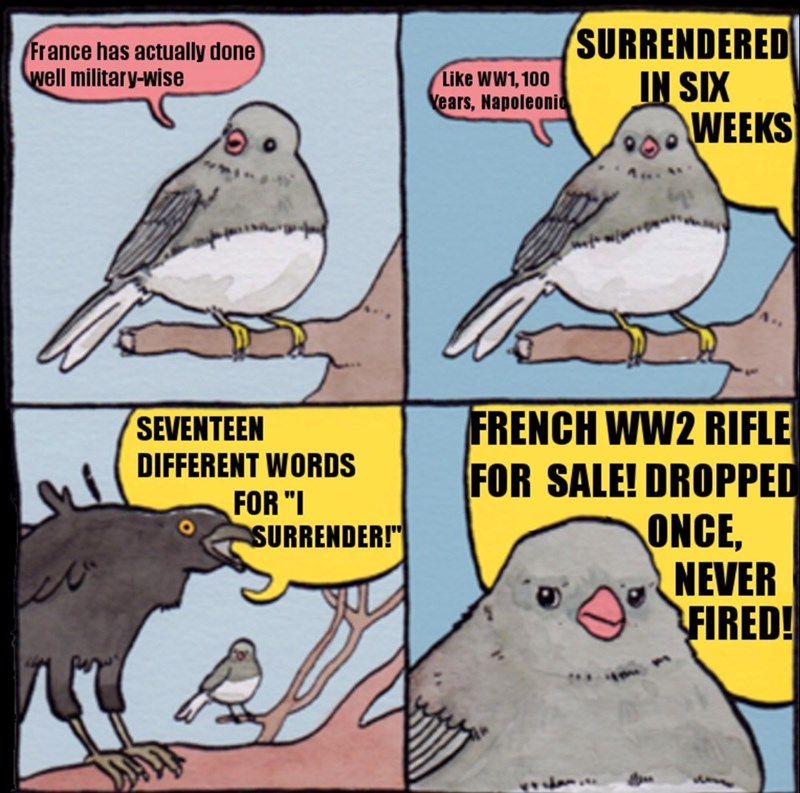 "Bird - SURRENDERED IN SIX WEEKS France has actually done well military-wise Like WW1,100 ears, Napoleonic A. FRENCH WW2 RIFLE FOR SALE! DROPPED ONCE, NEVER FIRED! SEVENTEEN DIFFERENT WORDS FOR ""I SURRENDER!"""