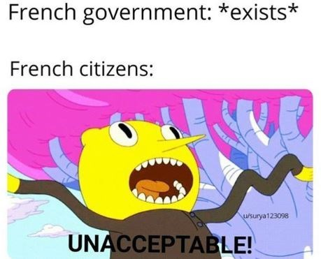 Cartoon - French government: *exists* French citizens: u/surya123098 UNACCEPTABLE!