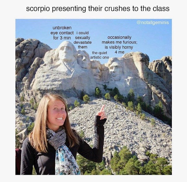 Wilderness - scorpio presenting their crushes to the class @notallgeminis unbroken eye contact i could for 3 min sexually devastate occasionally makes me furious; is visibly horny 4 me them the quiet artistic one
