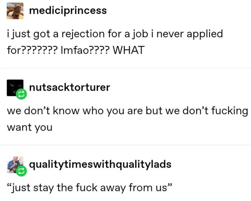 "Text - mediciprincess i just got a rejection for a job i never applied for??????? Imfao???? WHAT nutsacktorturer we don't know who you are but we don't fucking want you qualitytimeswithqualitylads ""just stay the fuck away from us"" ככ"
