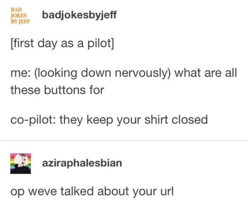Text - BAD JOKES BY JEFF badjokesbyjeff first day as a pilot] me: (looking down nervously) what are all these buttons for co-pilot: they keep your shirt closed aziraphalesbian op weve talked about your url
