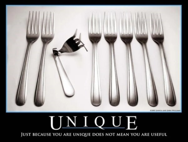 Cutlery - e essCAse pons w UNIQUE JUST BECAUSE YOU ARE UNIQUE DOES NOT MEAN YOU ARE USEFUL
