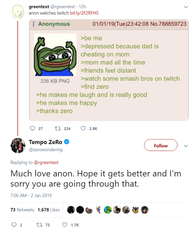 Text - greentext @rgreentext 12h anon watches twitch bit.ly/2F2RFHS 01/01/19(Tue)23:42 :08 No.788859723 Anonymous >be me >depressed because dad is cheating on mom >mom mad all the time >friends feel distant >watch some smash bros on twitch 338 KB PNG >find zero >he makes me laugh and is really good >he makes me happy >thanks zero t 224 27 2.8K Tempo ZeRo @zerowondering Follow Replying to @rgreentext Much love anon. Hope it gets better and I'm sorry you are going through that. 7:06 AM -2 Jan 2019