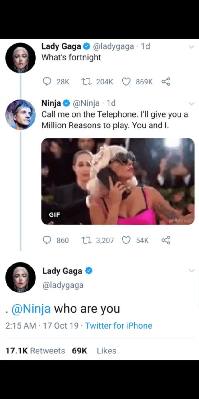 Person - Text - Lady Gaga@ladygaga 1d What's fortnight 28K 204K 869K Ninja@Ninja 1d Call me on the Telephone. I'll give you a Million Reasons to play. You and I. GIF Worty t3,207 54K 860 Lady Gaga @ladygaga @Ninja who are you 2:15 AM 17 Oct 19 Twitter for iPhone 17.1K Retweets 69K Likes