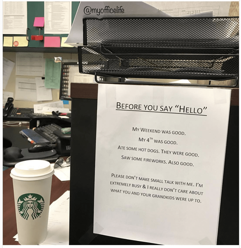 Funny pic of a sign on someone's desk about what they were up to over the weekend