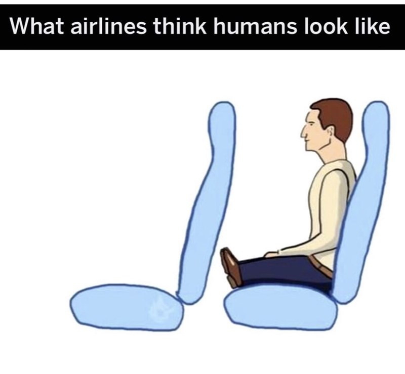 Cartoon - What airlines think humans look like