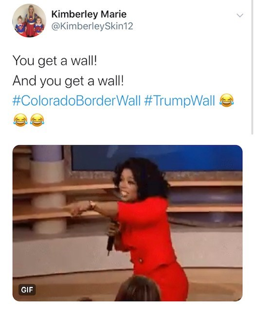 Text - Kimberley Marie @KimberleySkin1 2 You get a wall! And you get a wall! #ColoradoBorderWall #TrumpWall GIF >