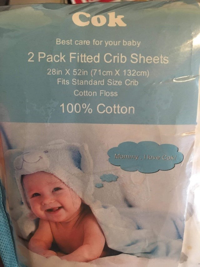 Child - Cok Best care for your baby 2 Pack Fitted Crib Sheets 28in X 52in (71 cm X 132cm) Fits Standard Size Crib Cotton Floss 100% Cotton Mommy, I love Cok!
