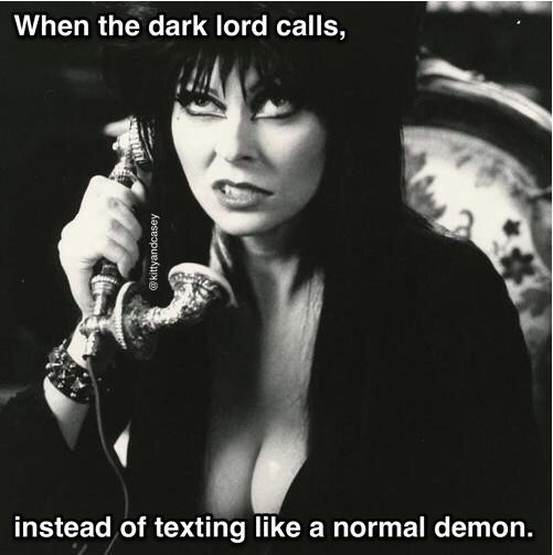 Album cover - When the dark lord calls, instead of texting like a normal demon. kittyandcasey