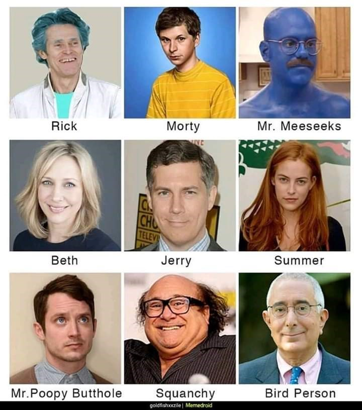 Face - Mr. Meeseeks Morty Rick INE CH TELEV Summer Jerry Beth Bird Person Squanchy goldfishoczile Memedroid Mr.Poopy Butthole