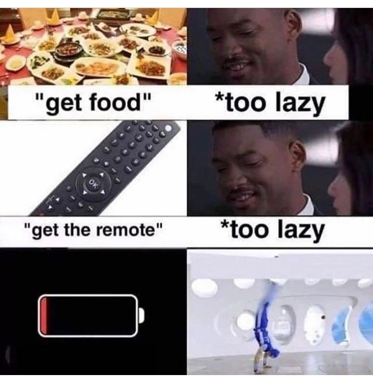 """Electronics - *too lazy """"get food"""" OK *too lazy """"get the remote"""""""