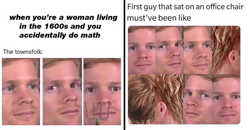 Funny white guy blinking memes, he breaks the fourth wall.
