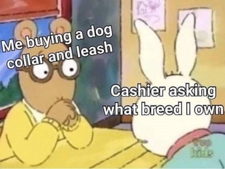 Cartoon - Me buying a dog collar and leash Cashier asking what breed I own
