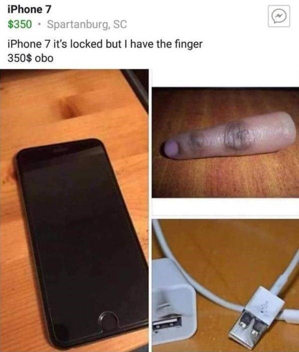 Gadget - iPhone 7 $350 Spartanburg, SC iPhone 7 it's locked but I have the finger 350$ obo