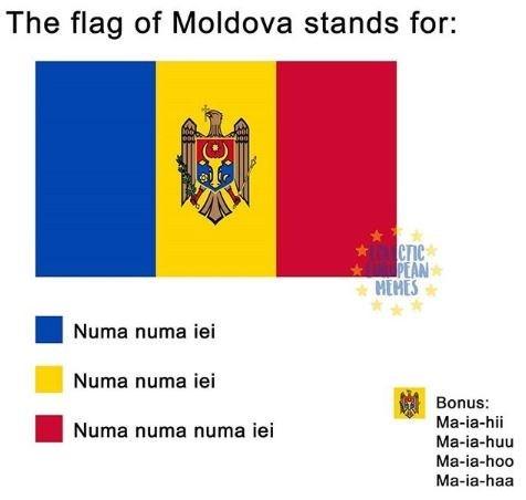 Text - The flag of Moldova stands for: Crie PEAN HEHES Numa numa iei Numa numa iei Bonus: Ma-ia-hii Numa numa numa iei Ma-ia-huu Ma-ia-hoo Ma-ia-haa