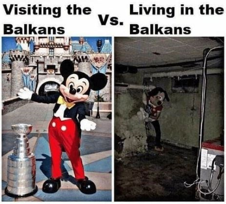 Animated cartoon - Living in the Vs. Visiting the Balkans Balkans
