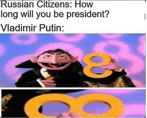 Cartoon - Russian Citizens: How long will you be president? Vladimir Putin: