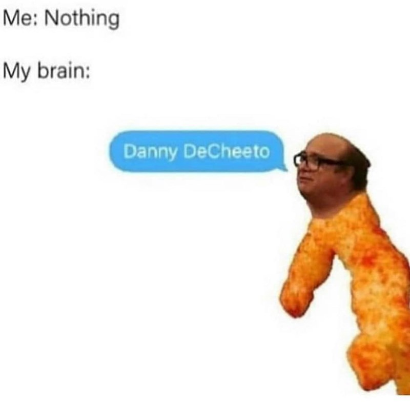 Text - Me: Nothing My brain: Danny DeCheeto