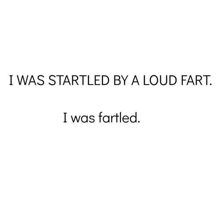 Text - I WAS STARTLED BY A LOUD FART. I was fartled.