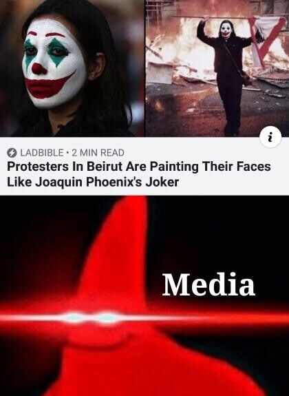 Facial expression - LADBIBLE 2 MIN READ Protesters In Beirut Are Painting Their Faces Like Joaquin Phoenix's Joker Media