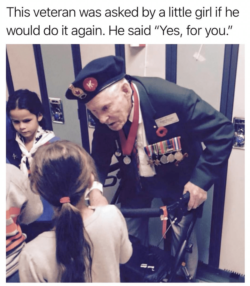 """Photography - This veteran was asked bya little girl if he would do it again. He said """"Yes, for you."""""""