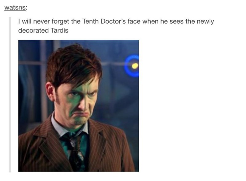 Text - watsns: I will never forget the Tenth Doctor's face when he sees the newly decorated Tardis