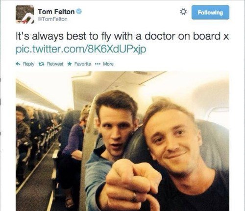 Selfie - Tom Felton OTomFelton Following It's always best to fly with a doctor on board x pic.twitter.com/8K6Xd U Pxjp Reply t Retweet Favorite More