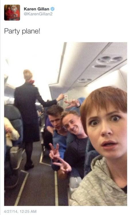 Selfie - Karen Gillan @KarenGillan2 Party plane! 4/27/14, 12:25 AM