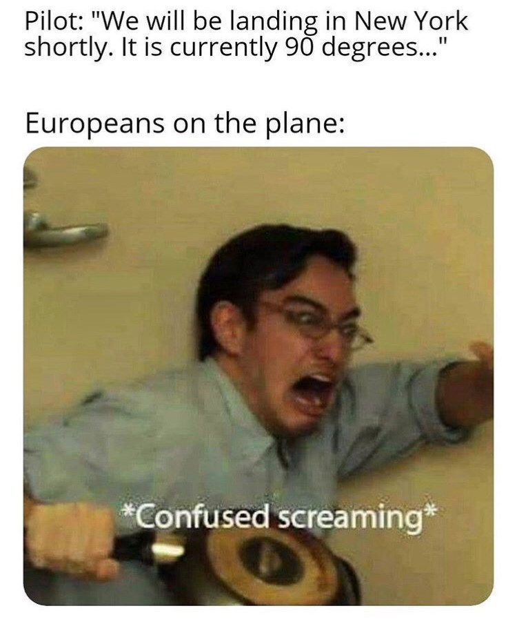"""Text - Pilot: """"We will be landing in New York shortly. It is currently 90 degrees..."""" Europeans on the plane: *Confused screaming*"""