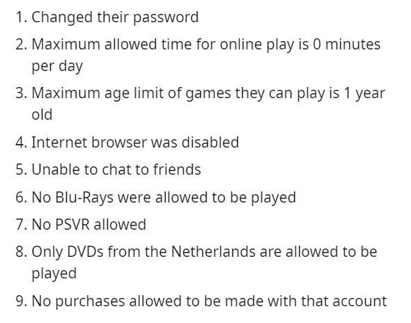 Text - 1. Changed their password 2. Maximum allowed time for online play is 0 minutes per day 3. Maximum age limit of games they can play is 1 year old 4. Internet browser was disabled 5.Unable to chat to friends 6. No Blu-Rays were allowed to be played 7. No PSVR allowed 8. Only DVDS from the Netherlands are allowed to be played 9. No purchases allowed to be made with that account