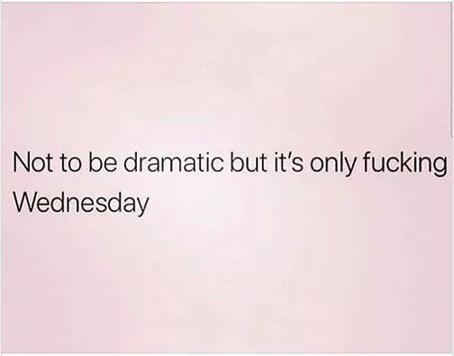 Text - Not to be dramatic but it's only fucking Wednesday