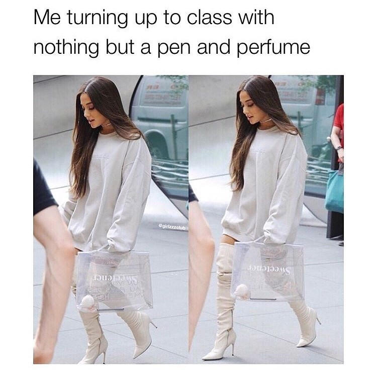 Clothing - Me turning up to class with nothing but a pen and perfume @girlzzzclub Sweetener
