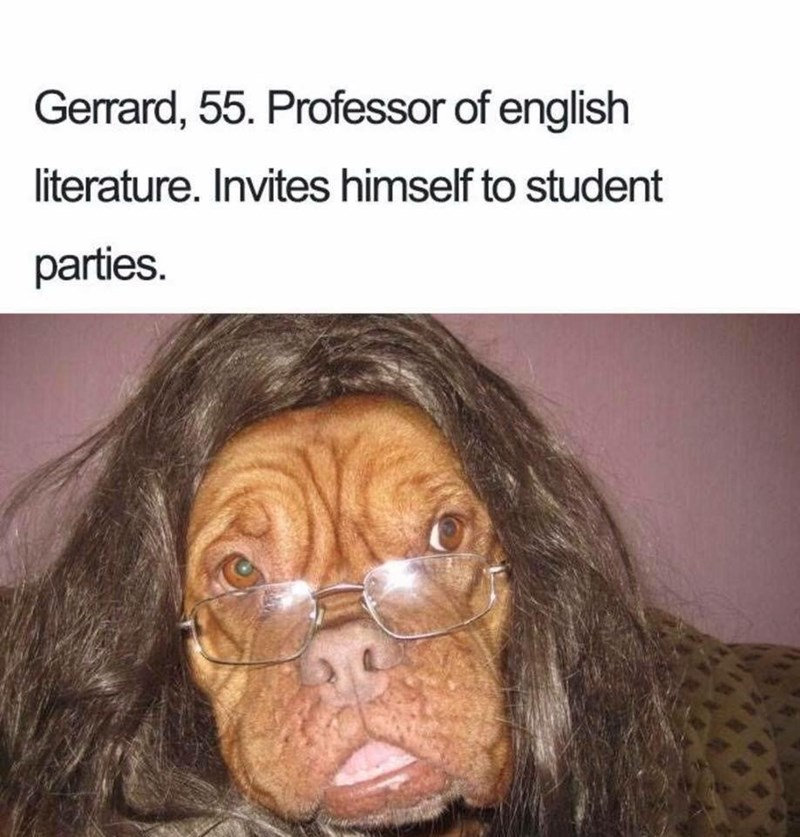 Snout - Gerrard, 55. Professor of english literature. Invites himself to student parties.