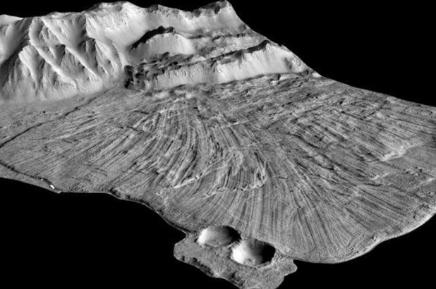 black and white photo of the landslides and ridges on mars