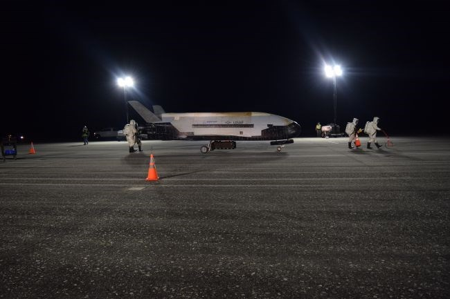 picture of X-37B space plane sitting on tarmac