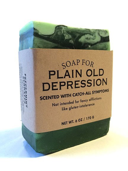 Soap - SOAP FOR PLAIN OLD DEPRESSION SCENTED WITH CATCH-ALL SYMPTOMS Not intended for fancy afflictions like gluten-intolerance NET WT. 6 OZ /170 G