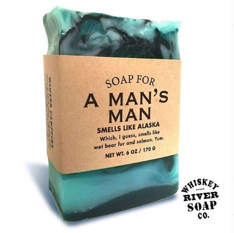 Soap - SOAP FOR A MAN'S MAN SMELLS LIKE ALASKA Which, I guess, smells like wet bear fur and salmon. Yum. NET WT. 6 OZ / 170 G HISKE RIVER SOAP co. WINTE A PPIRE