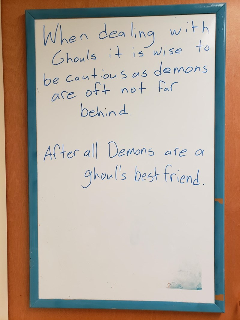 Text - When dea ling with Chouls it is Wise to be cautiouss are ott not Par behind demons ACter all Demons afe a ghoul's best friend