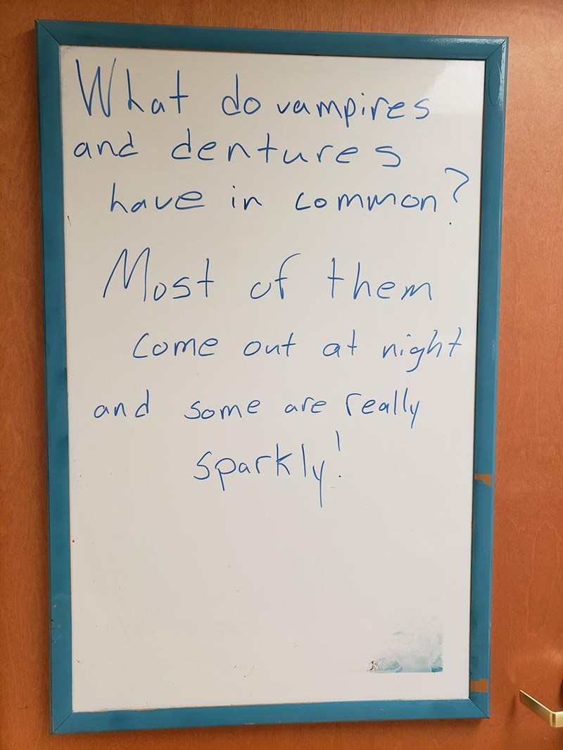 Text - What do vampires and denture s 7 Lommon have in Most cf them Come out a night Ceally and Some ale sparkly