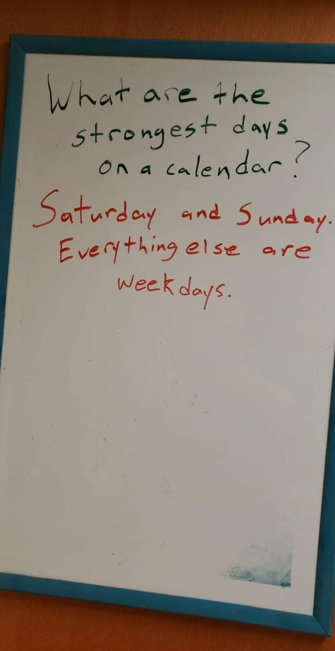 Text - What are the strongest days alendar On a Saturday and 5und ay. Everything else are week days.
