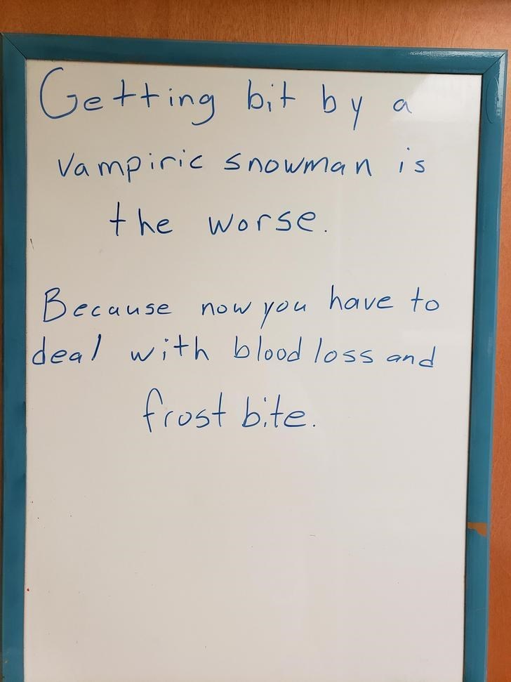 Text - Getting bit by Vampiric s nowman is +he worse have to you Because deal with blood loss and now frost bite