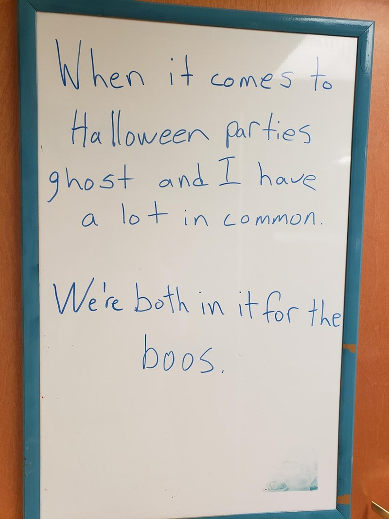 Text - ம ா hen it comes to Halloween parties ghost and 1 have lo t in common We're both in it for the boos